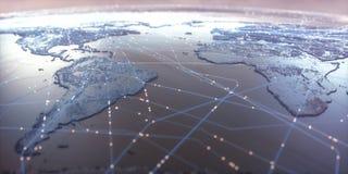 Connectivité de carte du monde images libres de droits