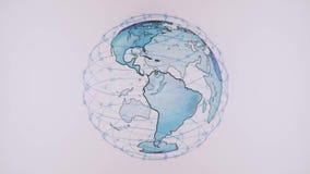 Connectivité sans fil de wifi de données d'Internet par un système global des satellites de télécommunication dans rendre l'anima illustration de vecteur