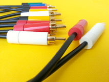 Connectivity cables rca for audio video gadgets Royalty Free Stock Image