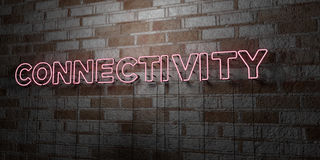 CONNECTIVITY - Glowing Neon Sign on stonework wall - 3D rendered royalty free stock illustration Stock Image
