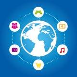 Connectivity icon. Over blue background illustration stock illustration