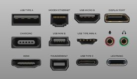 Free Connector And Ports. USB Type A And Type C, Video Ports Hand DrawnMI DVI And Displayport, Audio Coaxial, Thunderbolt And Stock Photography - 169003072