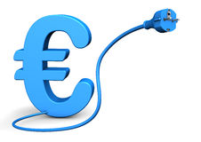 Euro Connector. Connector with cable and blue euro symbol. White background Royalty Free Stock Images