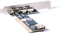 Connector of computer motherboard. Back side computer port Stock Images