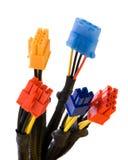 Connectors 1. Multicolored connectors closeup, white background Stock Images