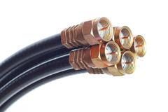 Connectors. Professional cable tv connectors against white background Stock Photos