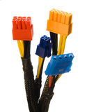 Connectors 6. Multicolored connectors closeup, white background Royalty Free Stock Images