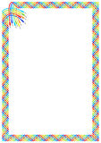 Connectors cables plait frame. White page framed with plait border of colorful interlaced cables and connectors at the upper left corner. Vector pattern ornament Stock Images