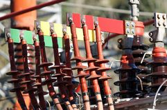 Connectors copper Busbar and poles of a transformer of a powerho Stock Photography