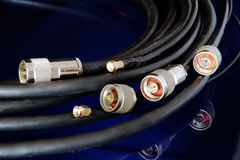 Connectors. Different high-frequency connectors for high-speed data transmission Royalty Free Stock Photos