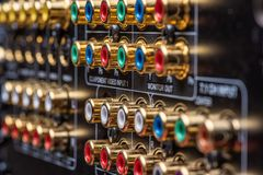 Connectors and terminals of a home theatre receiver.  royalty free stock photos