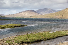 Connemara landscape. (co Galway, Ireland) with lake surrounded by mountains Royalty Free Stock Photos