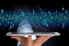 Connessione di rete dei dati con 0 e 1 numero - 3d rendono Immagini Stock Libere da Diritti