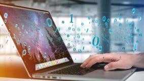 Connessione di rete dei dati con 0 e 1 numero - 3d rendono Immagine Stock Libera da Diritti