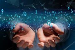 Connessione di rete dei dati con 0 e 1 numero - 3d rendono Immagine Stock