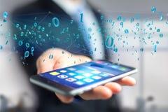 Connessione di rete dei dati con 0 e 1 numero - 3d rendono Immagini Stock
