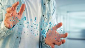 Connessione di rete dei dati con 0 e 1 numero - 3d rendono Fotografia Stock Libera da Diritti