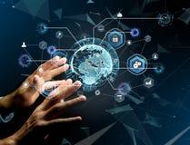 Connessione di rete internazionale di affari visualizzata sull'futuris immagine stock libera da diritti