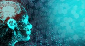 Connessione di rete Mesh Of Human Head With Brain On Binary Code illustrazione vettoriale