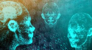 Connessione di rete Mesh Of Human Head With Brain On Binary Code royalty illustrazione gratis