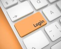 Connessione sul bottone arancio della tastiera 3d Fotografie Stock