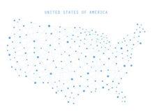 Connessioni di rete della mappa di U.S.A., illustrazione di vettore Immagini Stock