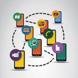 Connessioni di rete di Digital, fondo di tecnologia con le icone Immagine Stock Libera da Diritti