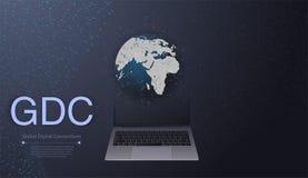 Connessioni di rete di Digital, fondo di tecnologia - concetto di progetto di calcolo della nuvola con la mappa del globo e di mo Immagini Stock