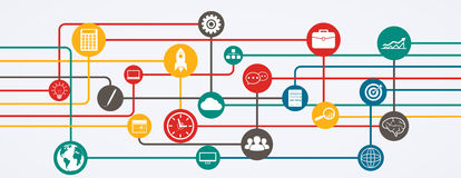 Connessioni di rete, flusso di informazioni con le icone nella posizione orizzontale Fotografie Stock Libere da Diritti