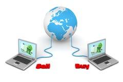 Connesso al mondo - commercio elettronico royalty illustrazione gratis