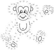 Connetta il gioco dei puntini: scimmia Fotografie Stock