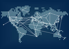 Connettività della rete globale rappresentata dalla mappa di mondo blu scuro con le linee collegate Immagini Stock