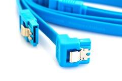 Connettori di cavo blu di SATA Fotografia Stock