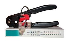 Connettori e cavo del morsetto del montaggio del router Fotografia Stock