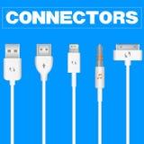 Connettori ed incavi per il PC ed i dispositivi mobili Fotografia Stock Libera da Diritti