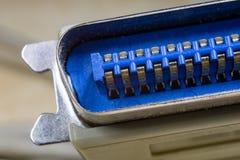 Connettori elettrici ad alto ingrandimento Computer ed elettrico Fotografia Stock Libera da Diritti