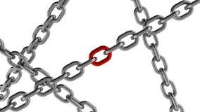 Connexion à chaînes avec l'élément rouge Images stock