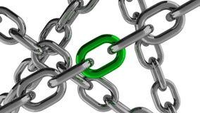 Connexion à chaînes avec l'élément vert Photo stock