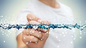 Connexion abstraite émouvante de vague d'homme d'affaires avec un stylo numérique Image libre de droits