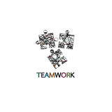 Connexion abstraite de logo pour la société commerciale Travail d'équipe, idée sociale de Logotype de media Images stock