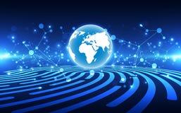 Connexion abstraite de technologie num?rique sur le fond de concept de la terre, illustration de vecteur