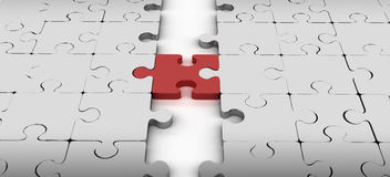 Connexion de deux blocs avec la partie rouge de puzzle Photographie stock