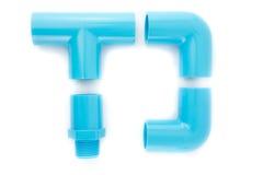 Connexion de pipe bleue de PVC Images libres de droits