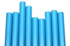 Connexion de pipe bleue de PVC photo libre de droits