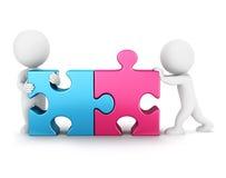 connexion de puzzle des personnes de race blanche 3d Image stock