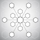 Connexion des treize cellules hexagonales sur illustration libre de droits