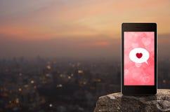 Connexion en ligne d'Internet, concept de jour de valentines Photographie stock