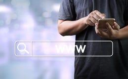 Connexion en ligne de navigateur d'ordinateur de page Web d'Internet de site Web de WWW Photo libre de droits