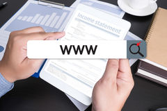 Connexion en ligne de navigateur d'ordinateur de page Web d'Internet de site Web de WWW Photo stock