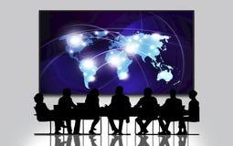 Connexion internet à la terre vue de l'espace, groupe de personnes lors de la réunion, grandes affaires d'écran illustration libre de droits